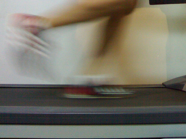 Running on the treadmill.