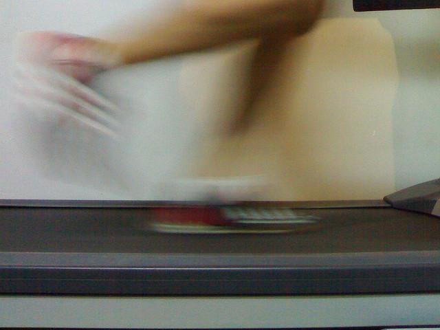 Running on the treadmill.