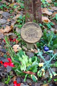 The baby memorial at the woodland burial ground.