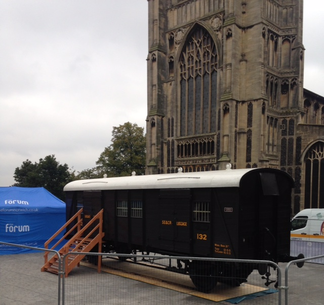 The Cavell Van on display outside The Forum in Norwich.